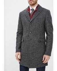 """Темно-серое длинное пальто с узором """"в ёлочку"""" от Bazioni"""