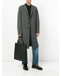 """Темно-серое длинное пальто с узором """"в ёлочку"""" от Harris Wharf London"""