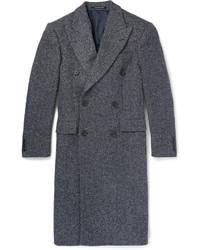 """Темно-серое длинное пальто с узором """"в ёлочку"""" от Richard James"""