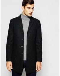 """Темно-серое длинное пальто с узором """"в ёлочку"""" от Selected"""