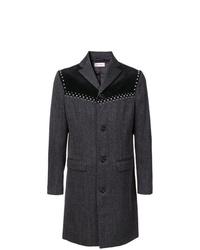 Темно-серое длинное пальто от Palm Angels