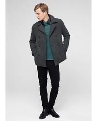 Мужское темно-серое длинное пальто от s.Oliver