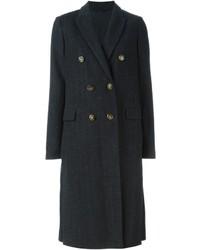 Темно-серое пальто в вертикальную полоску