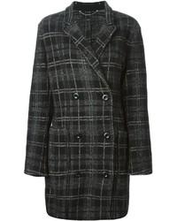 Темно-серое пальто в шотландскую клетку