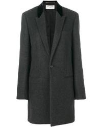 Женское темно-серое пальто от Saint Laurent