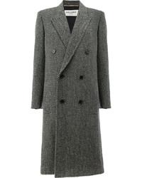 Женское темно-серое твидовое пальто от Saint Laurent
