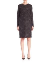 Темно-серое шерстяное платье прямого кроя
