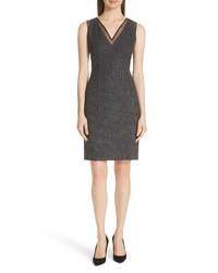 Темно-серое шерстяное платье-футляр