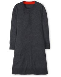 Темно-серое шерстяное свободное платье