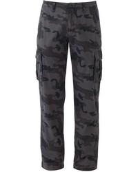 Темно-серые брюки карго с камуфляжным принтом