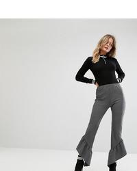 Темно-серые брюки-клеш в вертикальную полоску от Missguided