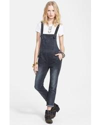 Темно-серые джинсовые штаны-комбинезон