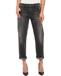 Темно-серые джинсы-бойфренды