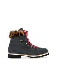 Женские темно-серые замшевые ботинки на шнуровке с леопардовым принтом от Mr & Mrs Italy