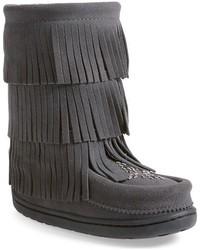Темно-серые замшевые ботинки