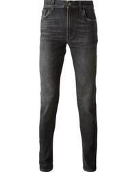 Темно-серые зауженные джинсы