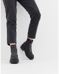 Женские темно-серые кожаные массивные ботинки на шнуровке от ASOS DESIGN