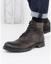 Мужские темно-серые кожаные повседневные ботинки от Jack & Jones