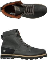 Темно-серые кожаные рабочие ботинки