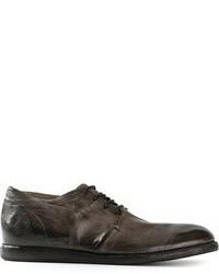 Темно-серые кожаные туфли дерби