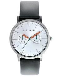 Темно-серые кожаные часы