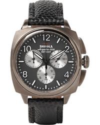 Мужские темно-серые кожаные часы
