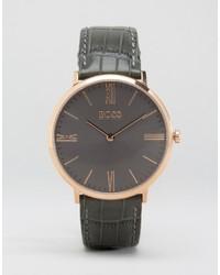 Мужские темно-серые кожаные часы от Hugo Boss