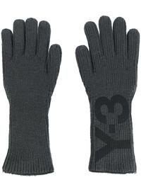 Мужские темно-серые перчатки с принтом от Y-3