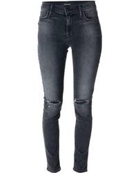 Темно-серые рваные джинсы скинни