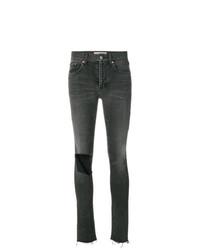 Темно-серые рваные джинсы скинни от Balenciaga