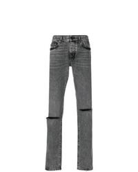 Мужские темно-серые рваные джинсы от Saint Laurent