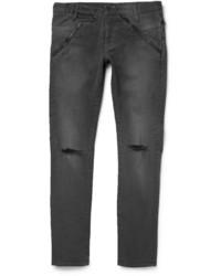 Темно-серые рваные зауженные джинсы