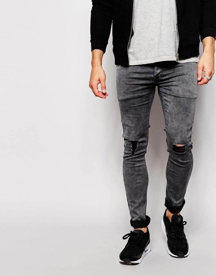 d5646a6b3bd ... Мужские темно-серые рваные зауженные джинсы от Antioch ...