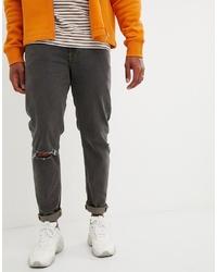 Мужские темно-серые рваные зауженные джинсы от ASOS DESIGN
