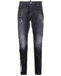 Мужские темно-серые рваные зауженные джинсы от DSQUARED2