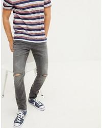 Мужские темно-серые рваные зауженные джинсы от Esprit