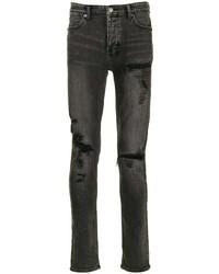 Мужские темно-серые рваные зауженные джинсы от Ksubi