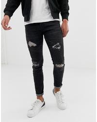 Мужские темно-серые рваные зауженные джинсы от LOYALTY & FAITH