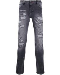 Мужские темно-серые рваные зауженные джинсы от Philipp Plein
