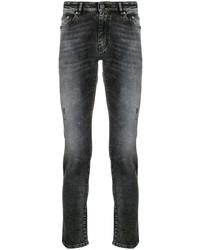 Мужские темно-серые рваные зауженные джинсы от Pt01