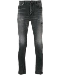 Мужские темно-серые рваные зауженные джинсы от Saint Laurent