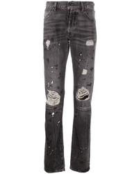 Мужские темно-серые рваные зауженные джинсы от Unravel Project