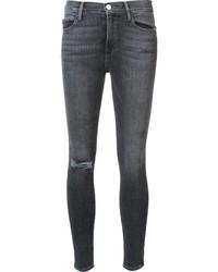 Женские темно-серые хлопковые рваные джинсы скинни от Frame