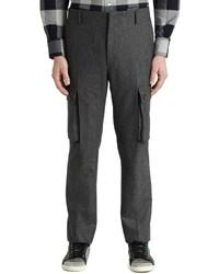 Темно-серые шерстяные брюки карго