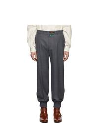 Темно-серые шерстяные брюки чинос от Gucci
