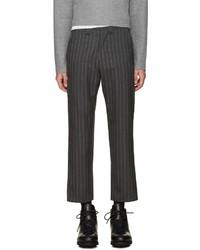 Темно-серые шерстяные классические брюки в вертикальную полоску