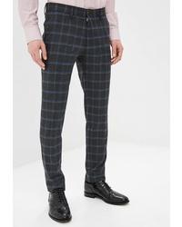 Мужские темно-серые шерстяные классические брюки в клетку от Angelo Bonetti