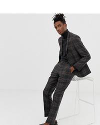 Мужские темно-серые шерстяные классические брюки в клетку от Heart & Dagger