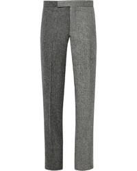 """Темно-серые шерстяные классические брюки с узором """"в ёлочку"""""""