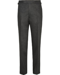 Мужские темно-серые шерстяные классические брюки